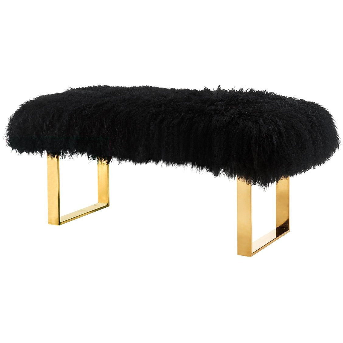 TOV Furniture Modern Sherpa Black Sheepskin Bench - TOV-O121-Minimal & Modern
