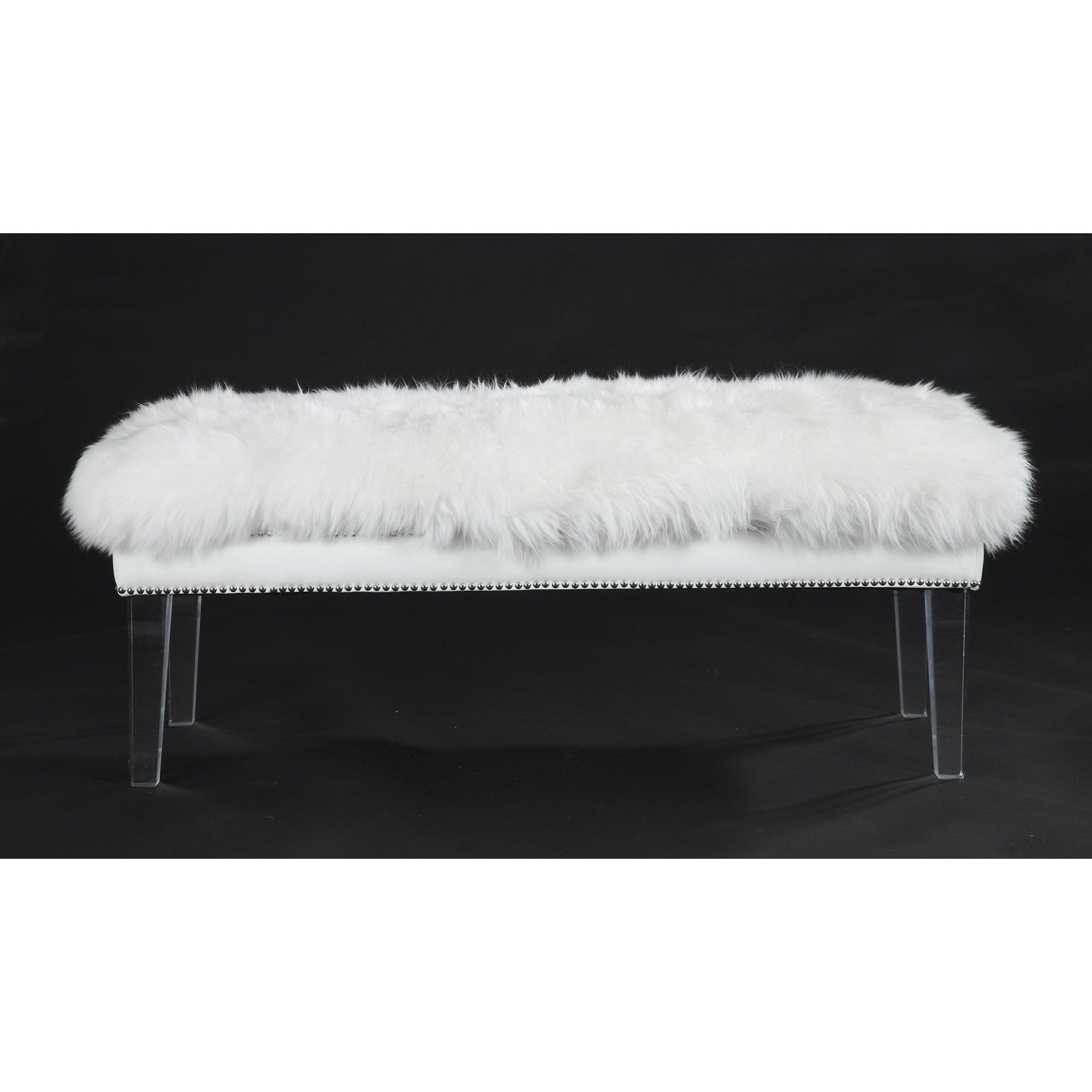 Tov Furniture Modern Luxe White Sheepskin Lucite Bench Tov