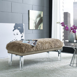 TOV Furniture Modern Luxe Brown Sheepskin Lucite Bench TOV-O24-Minimal & Modern