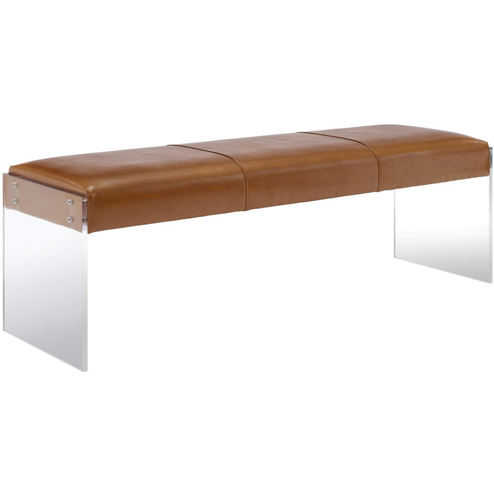 TOV Furniture Modern Envy Brown Leather/Acrylic Bench TOV-O28-Minimal & Modern
