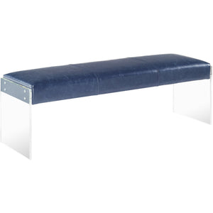 TOV Furniture Modern Envy Antique Blue Leather/Acrylic Bench TOV-O54-Minimal & Modern