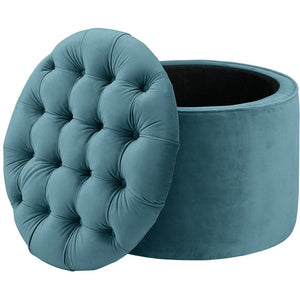 TOV Furniture Modern Queen Sea Blue Velvet Storage Ottoman - TOV-OC144-Minimal & Modern