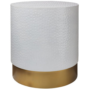 Dimple Hand Hammered White & Gold Chic Side Table