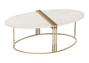 TOV Furniture Modern Caleb Oval White Marble Cocktail Table - TOV Furniture, Minimal & Modern - 1