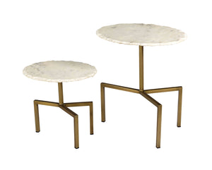 TOV Furniture Modern Hanish White Marble Tables - Set of 2 - TOV-OC18294