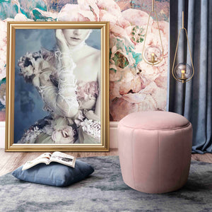 TOV Furniture Modern Ives Blush Velvet Ottoman - TOV Furniture, Minimal & Modern - 1
