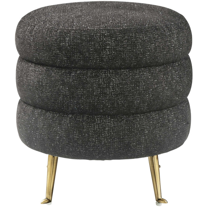 TOV Furniture Modern Ladder Black Tweed Ottoman TOV-OC6182-Minimal & Modern