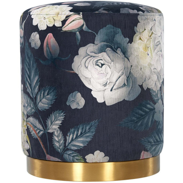 TOV Furniture Modern Opal Floral Velvet Ottoman With Gold Base TOV-OC6308
