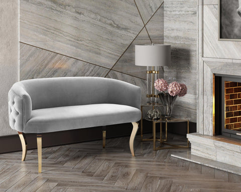 TOV Furniture Modern Adina Grey Velvet Loveseat with Gold Legs , Loveseat - TOV Furniture, Minimal & Modern - 1