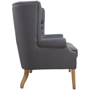 TOV Furniture Modern Abe Grey Linen Wing Loveseat TOV-S2063-Minimal & Modern