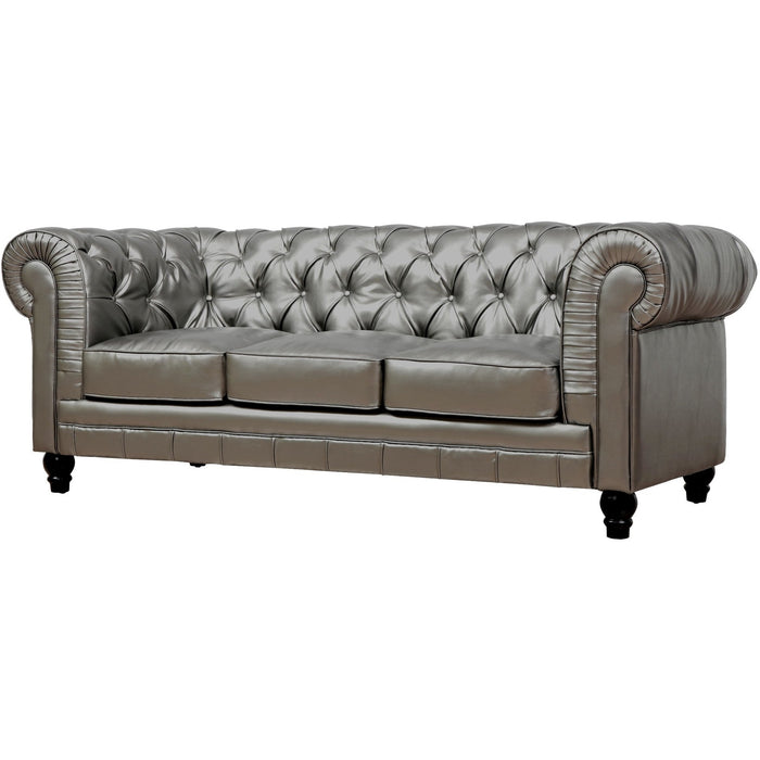 TOV Furniture Modern Zahara Silver Leather Sofa TOV-S24-Minimal & Modern