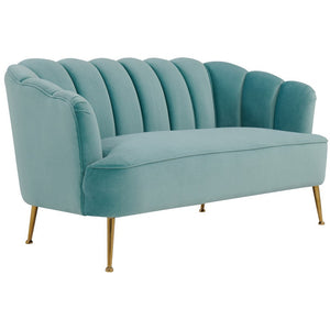 TOV Furniture Daisy Petite Sea Blue Velvet Settee TOV-S4923