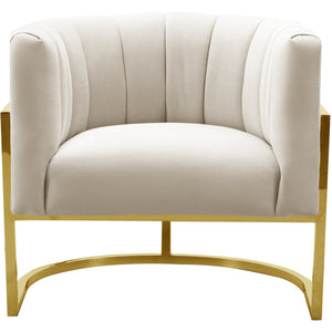 TOV Furniture Magnolia Spotted Cream Chair with Gold Base TOV-S6150-Minimal & Modern