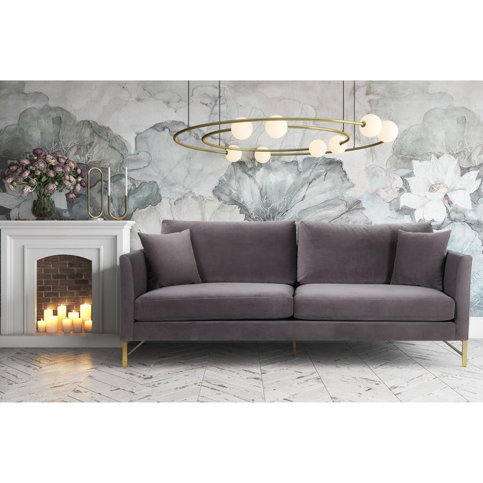 TOV Furniture Modern Massi Grey Velvet Sofa TOV-S6166-Minimal & Modern