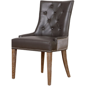 TOV Furniture Modern Uptown Grey Leather/Velvet Dining Chair TOV-UPT-GBLGV-Minimal & Modern