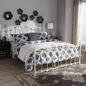 Baxton Studio Darcy Vintage Industrial White Finished Metal Full Size Platform Bed Baxton Studio-Full Bed-Minimal And Modern - 1