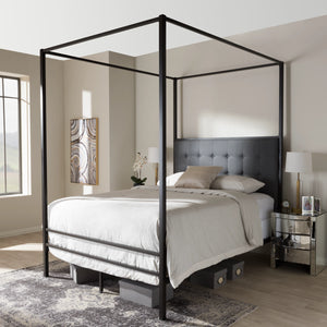 Baxton Studio Eleanor Vintage Industrial Black Finished Metal Canopy Queen Bed Baxton Studio-Queen Bed-Minimal And Modern - 1