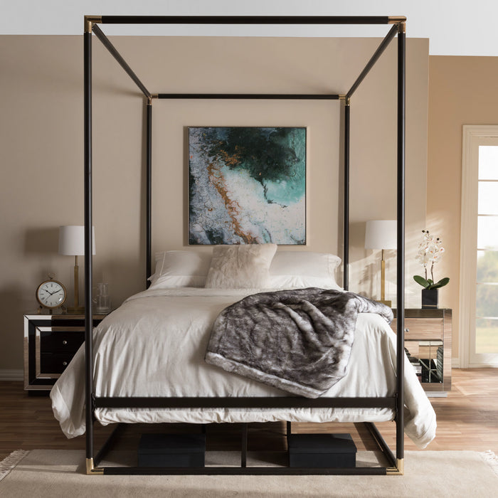 Baxton Studio Eva Vintage Industrial Black Finished Metal Canopy Queen Bed Baxton Studio-Queen Bed-Minimal And Modern - 1