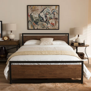 Baxton Studio Gabby Vintage Industrial Black Finished Metal Queen Size Platform Bed Baxton Studio-beds-Minimal And Modern - 1