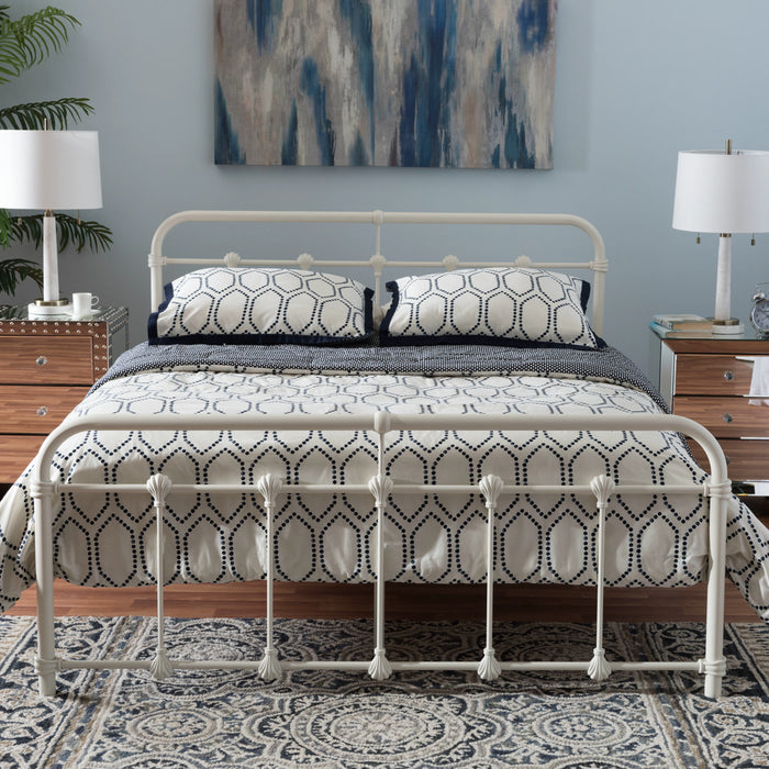 Baxton Studio Mandy Vintage Industrial White Finished Metal Queen Size Platform Bed Baxton Studio-beds-Minimal And Modern - 1