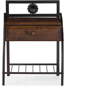 Baxton Studio Jevenci Vintage Industrial Black Finished Metal Nightstand Baxton Studio-nightstands-Minimal And Modern - 1