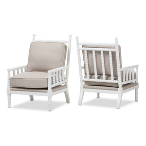 Baxton Studio Hillary Modern and Contemporary Beige Fabric Upholstered and White Finish Wood Spindle-Back Accent Chair (Set of 2) Baxton Studio-chairs-Minimal And Modern - 2