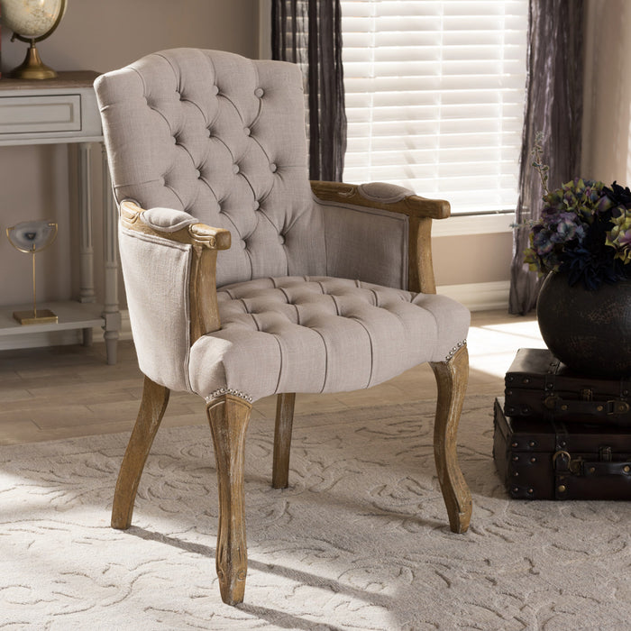 Baxton Studio Clemence French Provincial Weathered Oak Beige Linen Upholstered Armchair Baxton Studio-dining chair-Minimal And Modern - 1