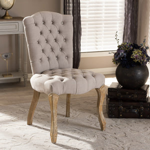 Baxton Studio Clemence French Provincial Inspired Weathered Oak Beige Linen Upholstered Dining Side Chair Baxton Studio-dining chair-Minimal And Modern - 1