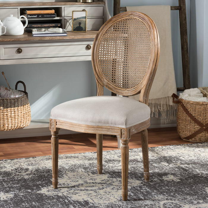 Baxton Studio Adelia French Vintage Cottage Weathered Oak Finish Wood and Beige Fabric Upholstered Dining Side Chair with Round Cane Back Baxton Studio-dining chair-Minimal And Modern - 1