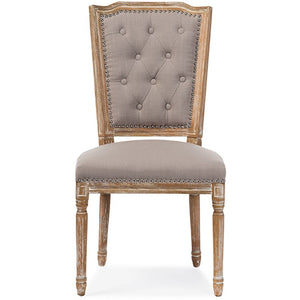Baxton Studio Estelle Chic Rustic French Country Cottage Weathered Oak Beige Fabric Button-tufted Upholstered Dining Chair Baxton Studio-dining chair-Minimal And Modern - 1