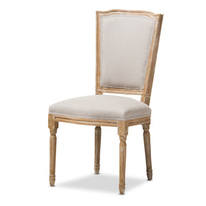 Baxton Studio Cadencia French Vintage Cottage Weathered Oak Finish Wood and Beige Fabric Upholstered Dining Side Chair Baxton Studio-dining chair-Minimal And Modern - 2