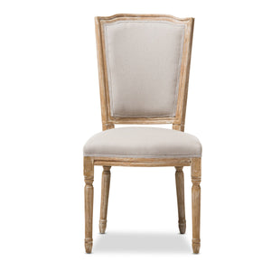 Baxton Studio Cadencia French Vintage Cottage Weathered Oak Finish Wood and Beige Fabric Upholstered Dining Side Chair Baxton Studio-dining chair-Minimal And Modern - 3