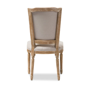 Baxton Studio Cadencia French Vintage Cottage Weathered Oak Finish Wood and Beige Fabric Upholstered Dining Side Chair Baxton Studio-dining chair-Minimal And Modern - 5