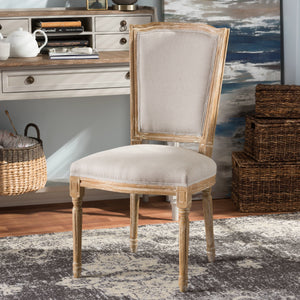 Baxton Studio Cadencia French Vintage Cottage Weathered Oak Finish Wood and Beige Fabric Upholstered Dining Side Chair Baxton Studio-dining chair-Minimal And Modern - 1