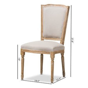 Baxton Studio Cadencia French Vintage Cottage Weathered Oak Finish Wood and Beige Fabric Upholstered Dining Side Chair Baxton Studio-dining chair-Minimal And Modern - 9