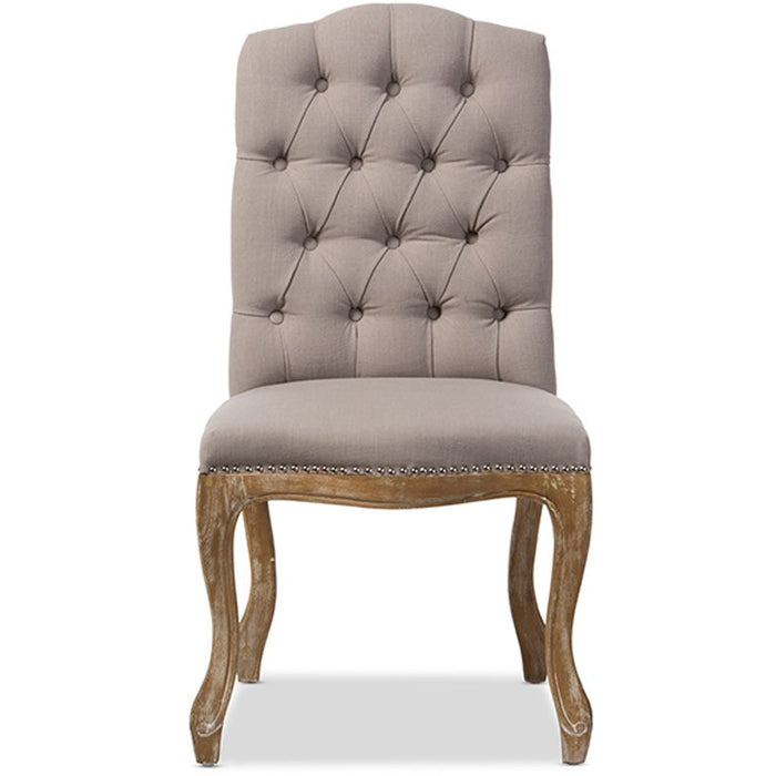 Baxton Studio Hudson Chic Rustic French Country Cottage Weathered Oak Beige Fabric Button-tufted Upholstered Dining Chair Baxton Studio-dining chair-Minimal And Modern - 1