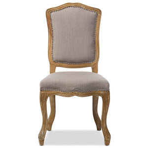 Baxton Studio Chateauneuf French Vintage Cottage Weathered Oak Beige Fabric Upholstered Dining Side Chair Baxton Studio-dining chair-Minimal And Modern - 1