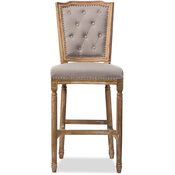 Baxton Studio Julie French Vintage Cottage Weathered Oak Beige Fabric Upholstered Barstool Baxton Studio-Bar Stools-Minimal And Modern - 1