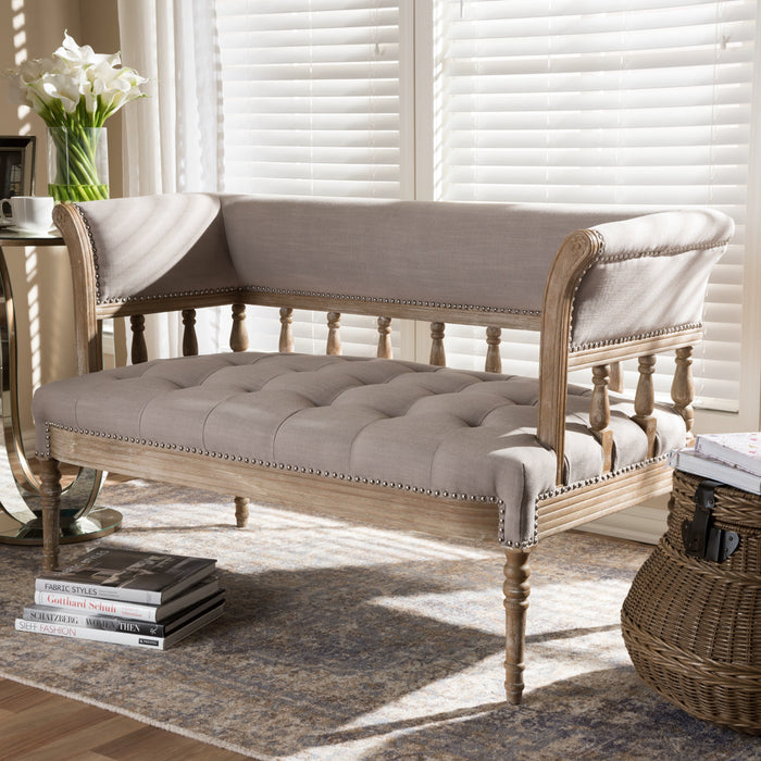 Baxton Studio Nora Swedish Gustavian Style Distressed Oak Wood Linen Upholstered Sofa Settee Baxton Studio-sofas-Minimal And Modern - 1