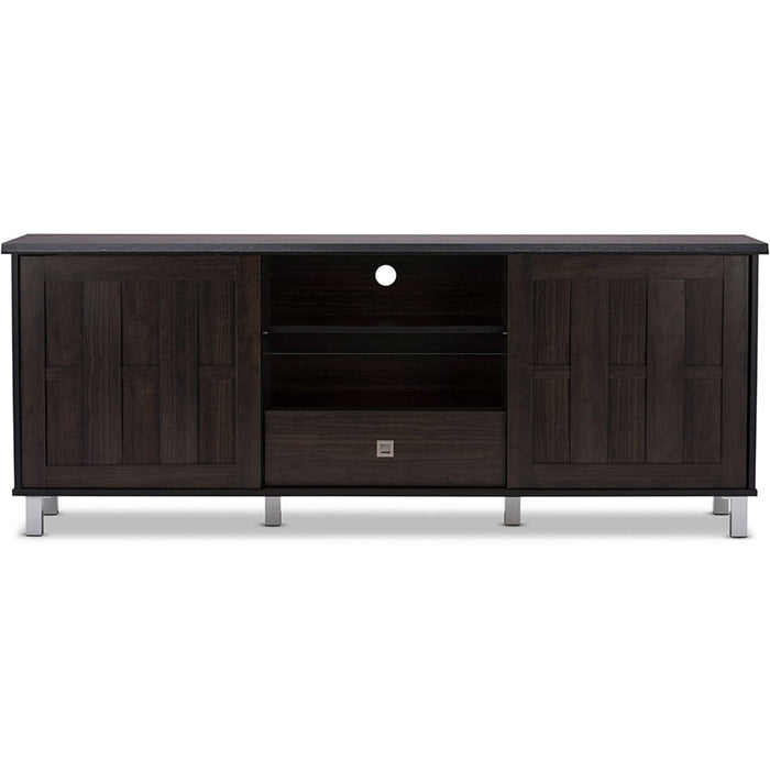 Baxton Studio Unna 70-Inch Dark Brown Wood TV Cabinet with 2 Sliding Doors and Drawer Baxton Studio-TV Stands-Minimal And Modern - 1