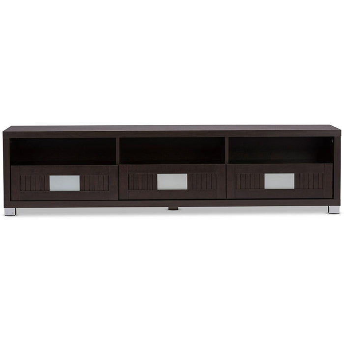 Baxton Studio Gerhardine Dark Brown Wood 63-Inch TV Cabinet with 3-drawer Baxton Studio-TV Stands-Minimal And Modern - 1