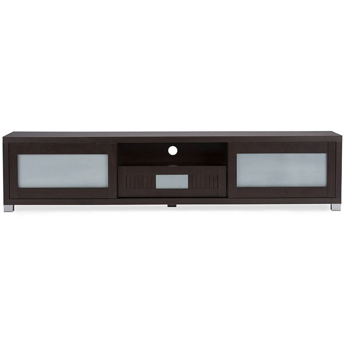 Baxton Studio Gerhardine Dark Brown Wood 70-inch TV Cabinet with 2 Sliding Doors and Drawer Baxton Studio-TV Stands-Minimal And Modern - 1
