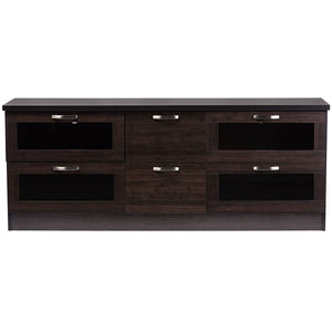 Baxton Studio Adelino 63 Inches Dark Brown Wood TV Cabinet with 4 Glass Doors and 2 Drawers Baxton Studio-TV Stands-Minimal And Modern - 1