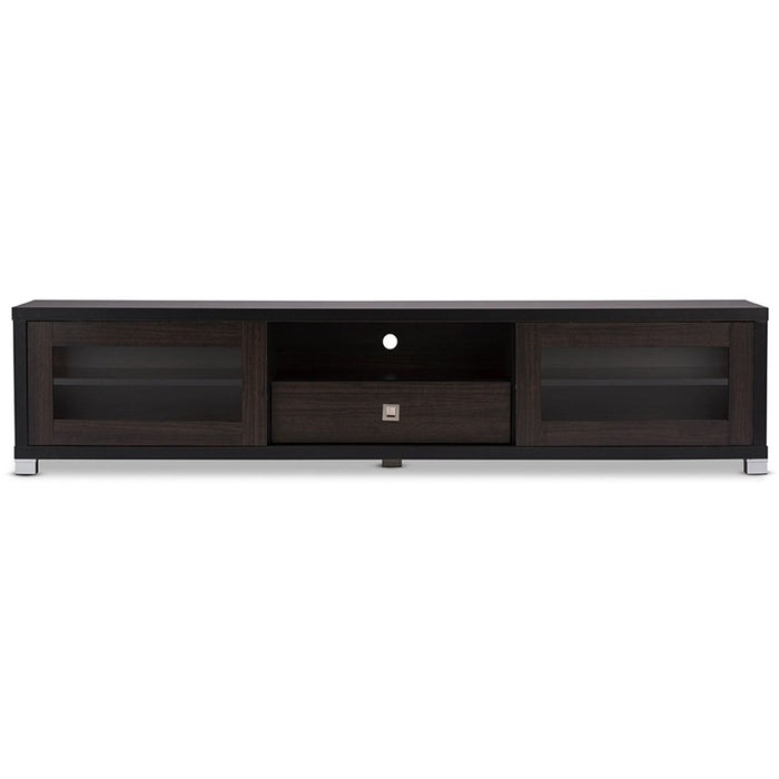 Baxton Studio Beasley 70-Inch Dark Brown TV Cabinet with 2 Sliding Doors and Drawer Baxton Studio-TV Stands-Minimal And Modern - 1