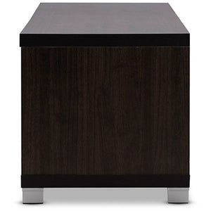 Baxton Studio Beasley 70-Inch Dark Brown TV Cabinet with 2 Sliding Doors and Drawer Baxton Studio-TV Stands-Minimal And Modern - 4