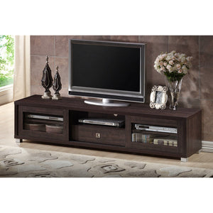 Baxton Studio Beasley 70-Inch Dark Brown TV Cabinet with 2 Sliding Doors and Drawer Baxton Studio-TV Stands-Minimal And Modern - 7