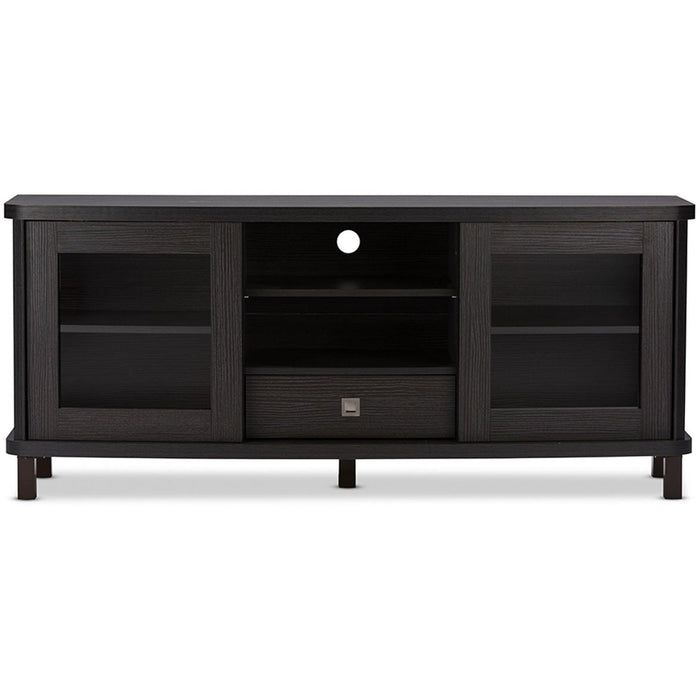 Baxton Studio Walda 60-Inch Dark Brown Wood TV Cabinet with 2 Sliding Doors and 1 Drawer Baxton Studio-TV Stands-Minimal And Modern - 1
