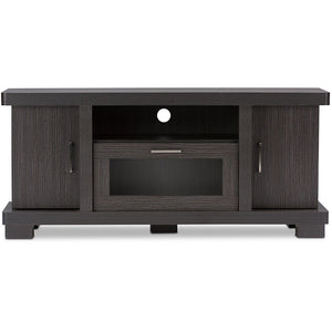 Baxton Studio Viveka 47-Inch Dark Brown Wood TV Cabinet with 2 Doors Baxton Studio-TV Stands-Minimal And Modern - 1