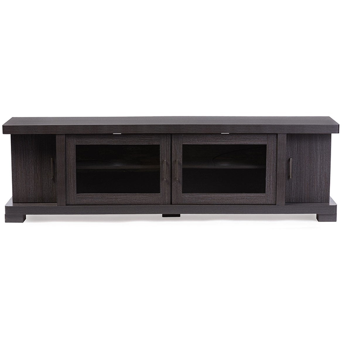 Baxton Studio Viveka 70-Inch Dark Brown Wood TV Cabinet with 2 Glass Doors and 2 Doors Baxton Studio-TV Stands-Minimal And Modern - 1