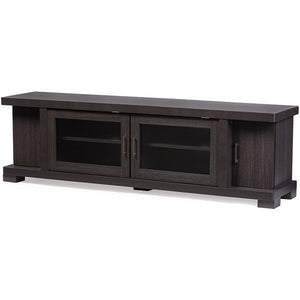 Baxton Studio Viveka 70-Inch Dark Brown Wood TV Cabinet with 2 Glass Doors and 2 Doors Baxton Studio-TV Stands-Minimal And Modern - 2